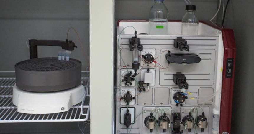 Preparatywne chromatografy cieczowe (Akta Pure 25 L/M; GE Healthcare)